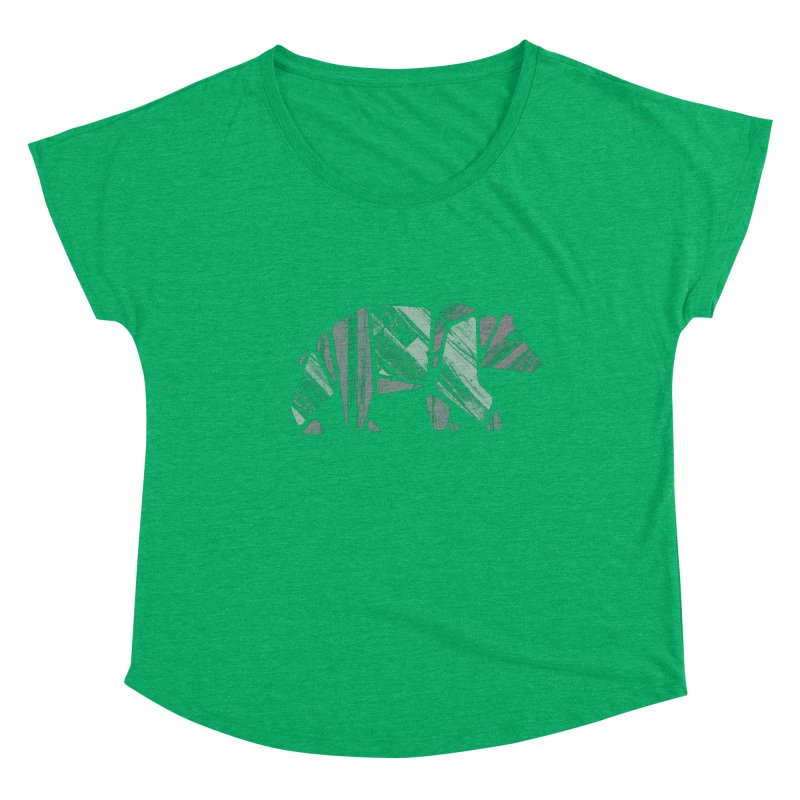 Woody, The Wood Grain Bear (green) Women's Dolman Scoop Neck by CRANK. outdoors + music lifestyle clothing
