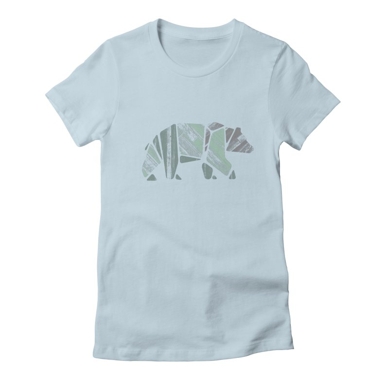 Woody, The Wood Grain Bear (green) Women's T-Shirt by CRANK. outdoors + music lifestyle clothing