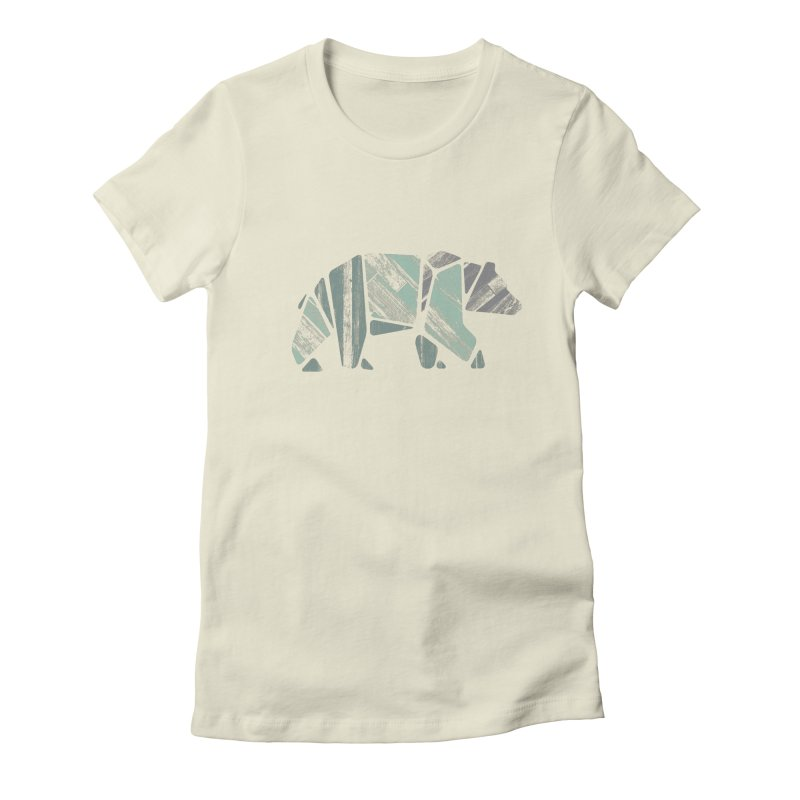Woody, The Wood Grain Bear (green) Women's Fitted T-Shirt by CRANK. outdoors + music lifestyle clothing