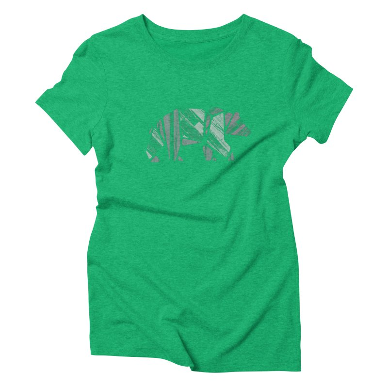 Woody, The Wood Grain Bear (green) Women's Triblend T-Shirt by CRANK. outdoors + music lifestyle clothing