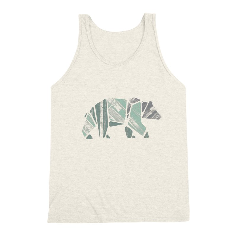 Woody, The Wood Grain Bear (green) Men's Triblend Tank by CRANK. outdoors + music lifestyle clothing