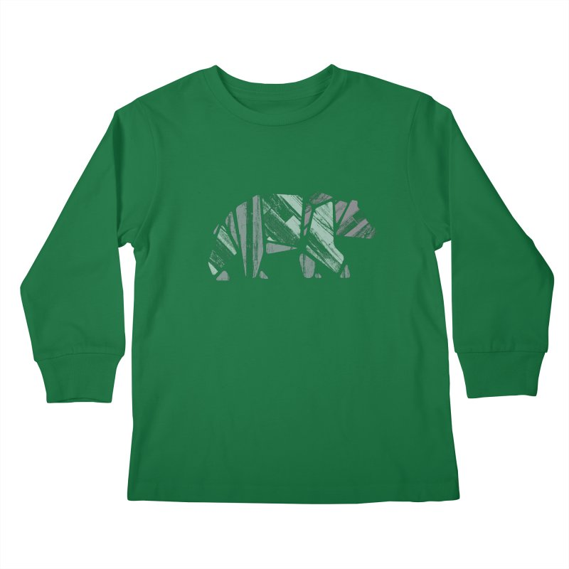 Woody, The Wood Grain Bear (green) Kids Longsleeve T-Shirt by CRANK. outdoors + music lifestyle clothing
