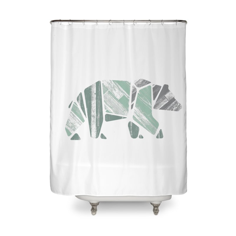 Woody, The Wood Grain Bear (green) Home Shower Curtain by CRANK. outdoors + music lifestyle clothing