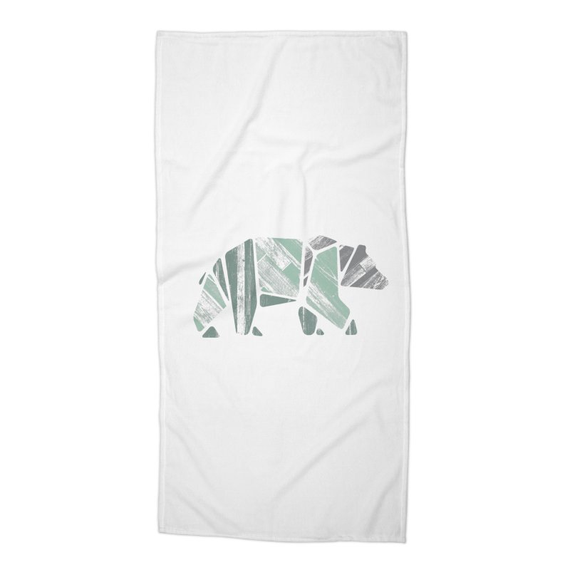 Woody, The Wood Grain Bear (green) Accessories Beach Towel by CRANK. outdoors + music lifestyle clothing