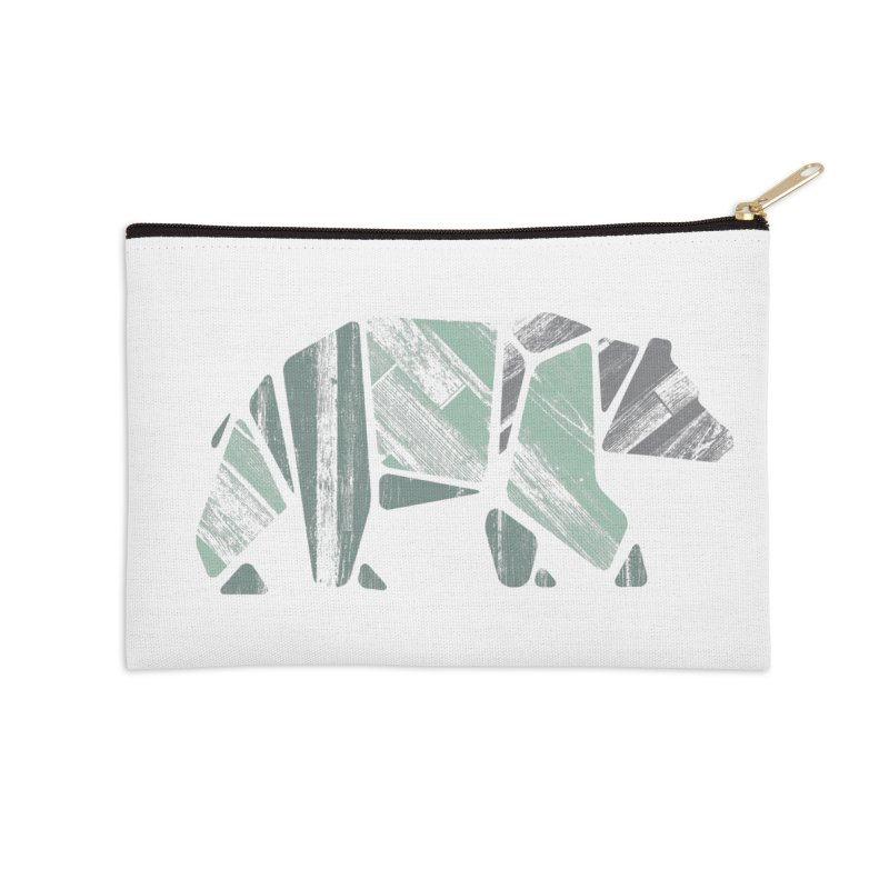 Woody, The Wood Grain Bear (green) Accessories Zip Pouch by CRANK. outdoors + music lifestyle clothing