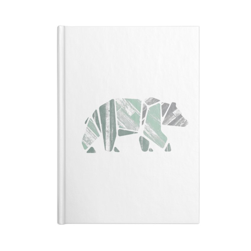 Woody, The Wood Grain Bear (green) Accessories Lined Journal Notebook by CRANK. outdoors + music lifestyle clothing