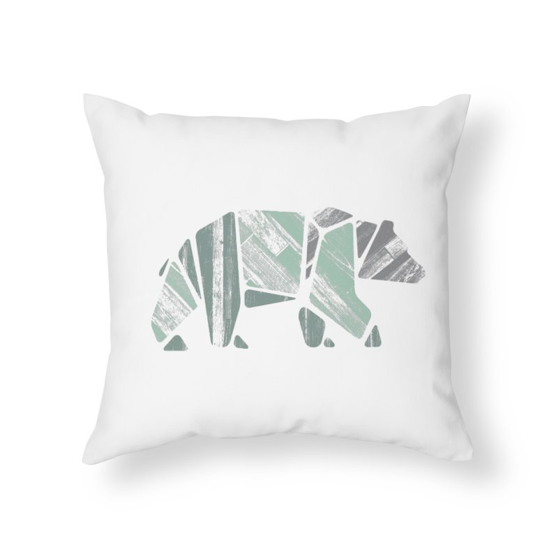 Woody, The Wood Grain Bear (green) Home Throw Pillow by CRANK. outdoors + music lifestyle clothing