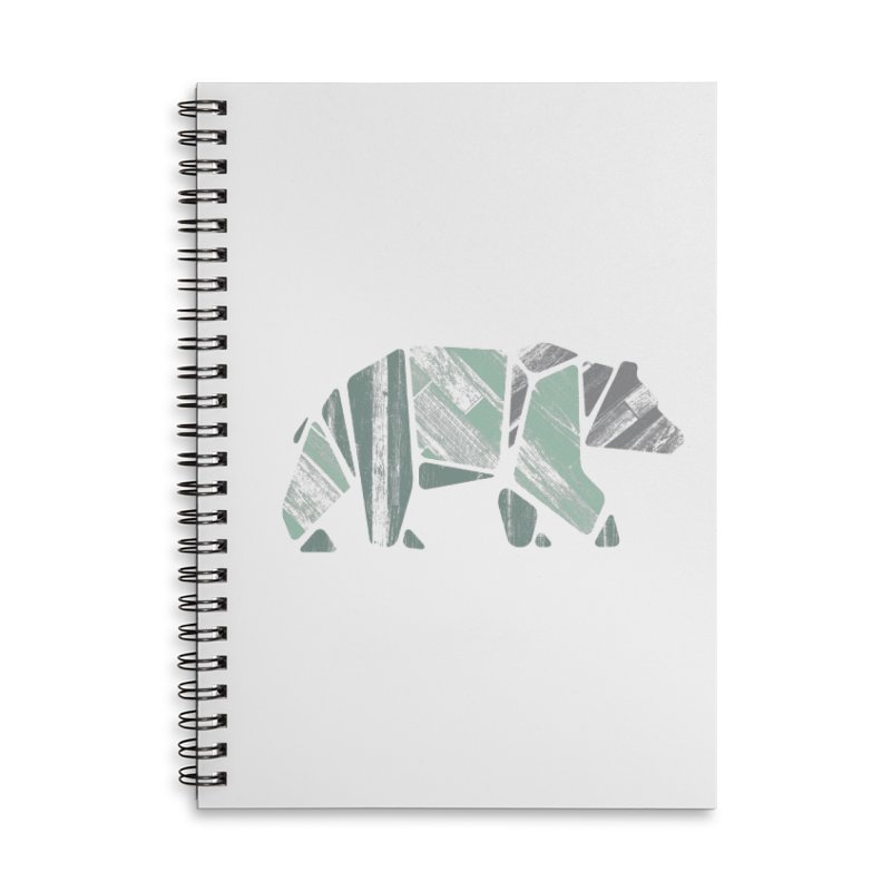 Woody, The Wood Grain Bear (green) Accessories Lined Spiral Notebook by CRANK. outdoors + music lifestyle clothing