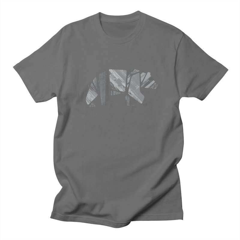 Woody, the Wood Grain Bear (grey) Men's T-Shirt by CRANK. outdoors + music lifestyle clothing