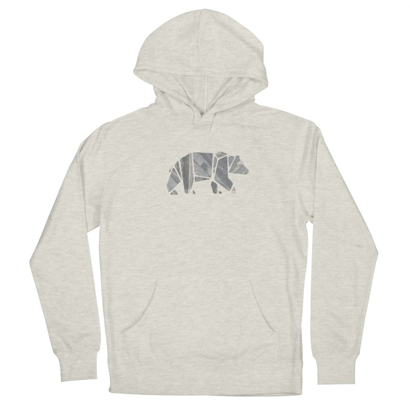 Woody, the Wood Grain Bear (grey) Women's Pullover Hoody by CRANK. outdoors + music lifestyle clothing