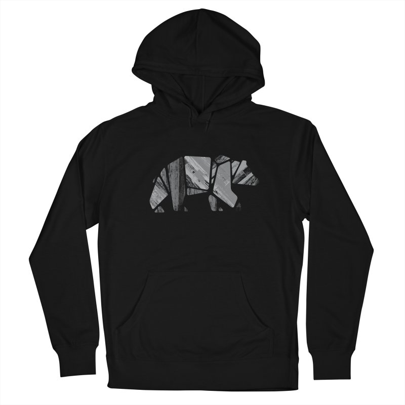 Woody, the Wood Grain Bear (grey) Women's French Terry Pullover Hoody by CRANK. outdoors + music lifestyle clothing