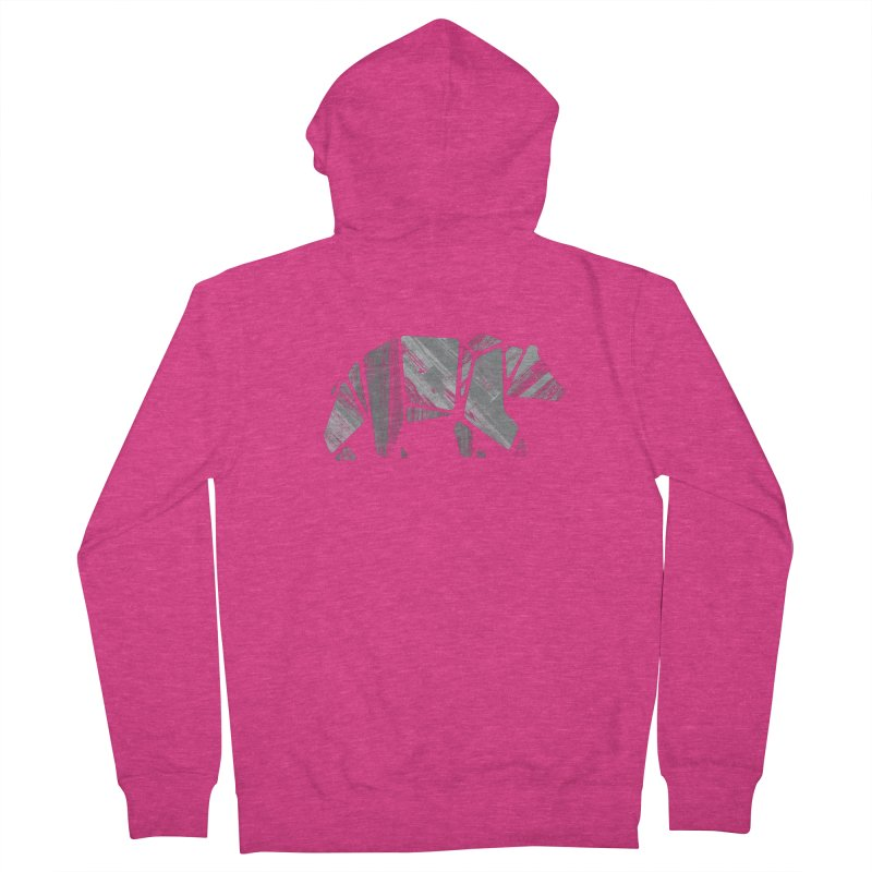 Woody, the Wood Grain Bear (grey) Women's French Terry Zip-Up Hoody by CRANK. outdoors + music lifestyle clothing