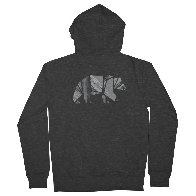 Woody, the Wood Grain Bear (grey) Men's French Terry Zip-Up Hoody by CRANK. outdoors + music lifestyle clothing