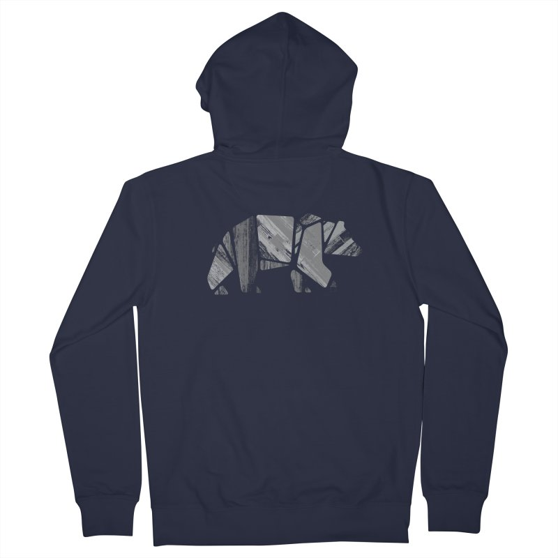 Woody, the Wood Grain Bear (grey) Men's Zip-Up Hoody by CRANK. outdoors + music lifestyle clothing