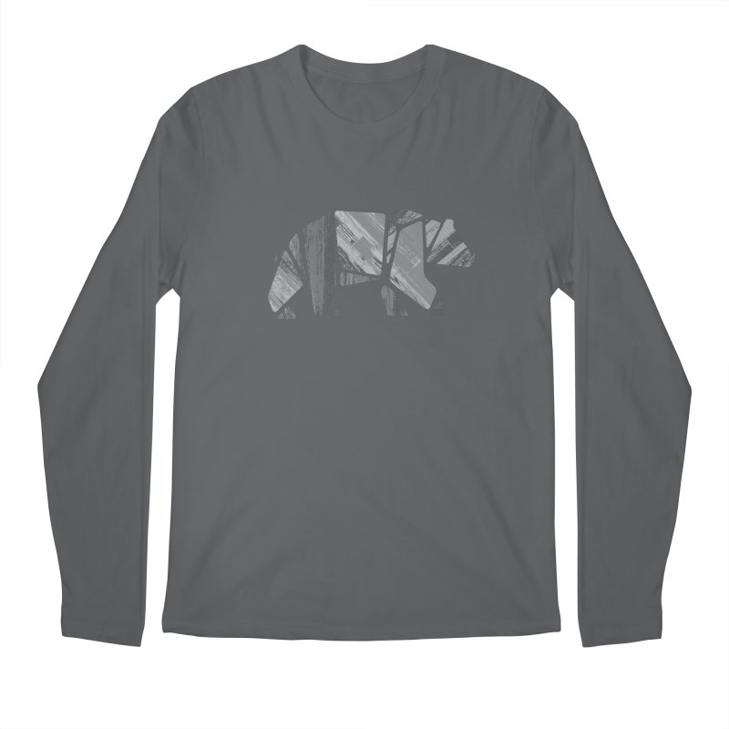 Woody, the Wood Grain Bear (grey) Men's Longsleeve T-Shirt by CRANK. outdoors + music lifestyle clothing