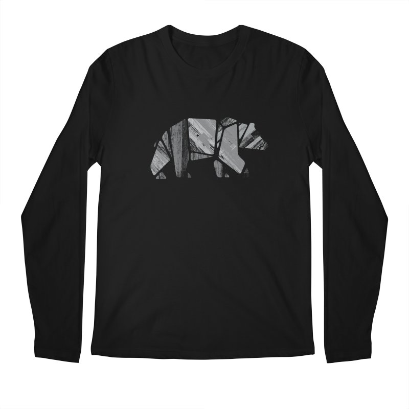 Woody, the Wood Grain Bear (grey) Men's Regular Longsleeve T-Shirt by CRANK. outdoors + music lifestyle clothing