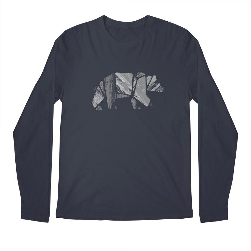 Woody, the Wood Grain Bear (grey) Men's Regular Longsleeve T-Shirt by CRANK. outdoors + music lifestyle clothing