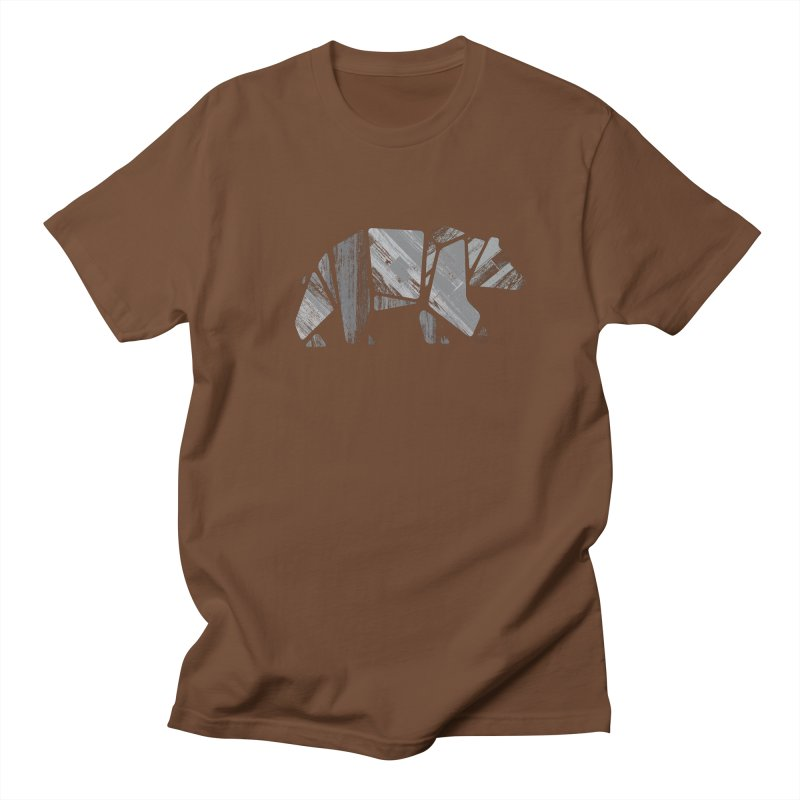 Woody, the Wood Grain Bear (grey) Women's Unisex T-Shirt by CRANK. outdoors + music lifestyle clothing
