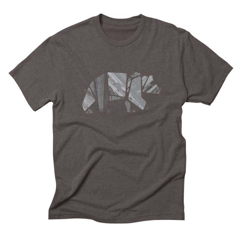 Woody, the Wood Grain Bear (grey) Men's Triblend T-shirt by CRANK. outdoors + music lifestyle clothing