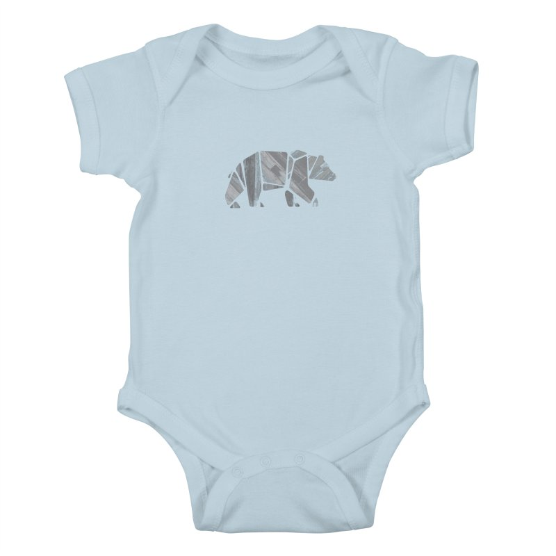 Woody, the Wood Grain Bear (grey) Kids Baby Bodysuit by CRANK. outdoors + music lifestyle clothing