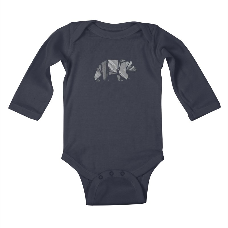 Woody, the Wood Grain Bear (grey) Kids Baby Longsleeve Bodysuit by CRANK. outdoors + music lifestyle clothing