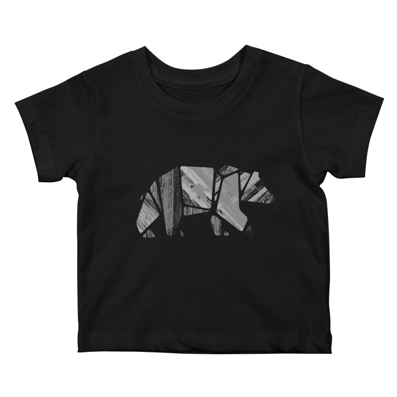 Woody, the Wood Grain Bear (grey) Kids Baby T-Shirt by CRANK. outdoors + music lifestyle clothing