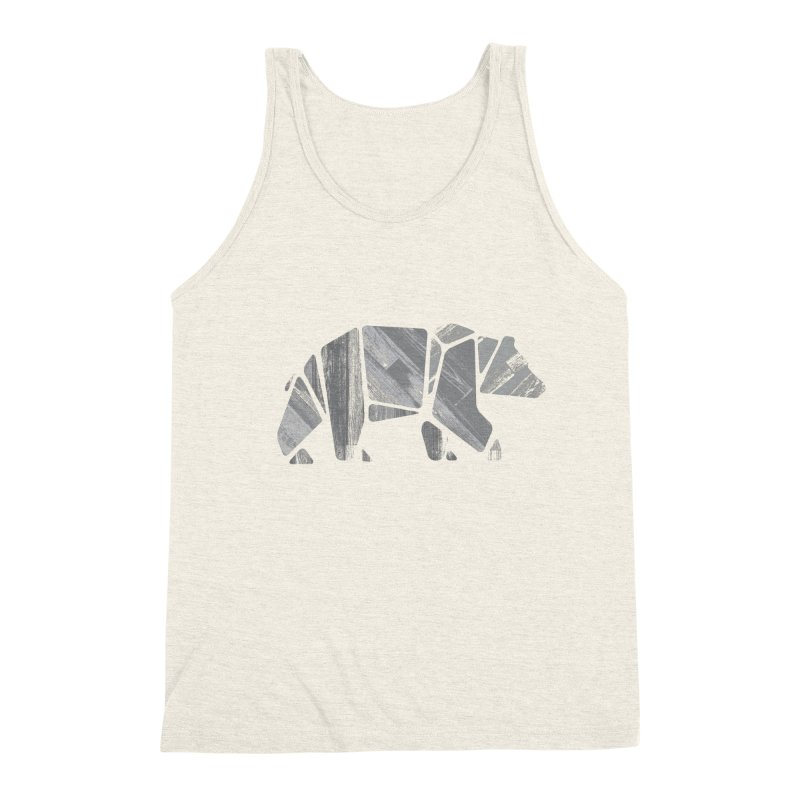 Woody, the Wood Grain Bear (grey) Men's Triblend Tank by CRANK. outdoors + music lifestyle clothing