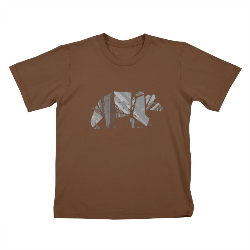 Woody, the Wood Grain Bear (grey) Kids T-Shirt by CRANK. outdoors + music lifestyle clothing