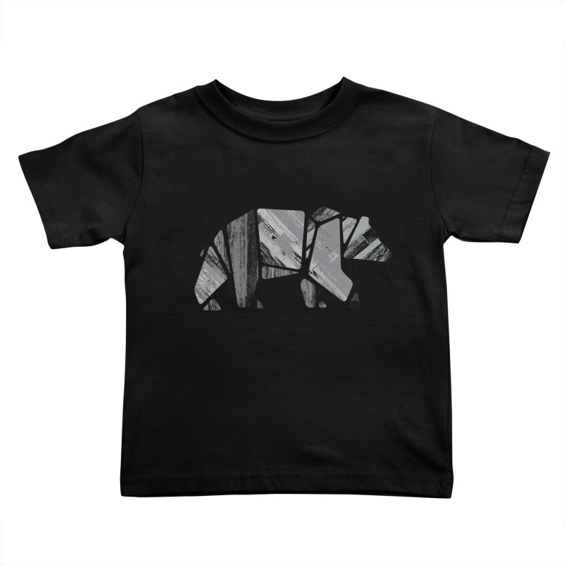 Woody, the Wood Grain Bear (grey) Kids Toddler T-Shirt by CRANK. outdoors + music lifestyle clothing