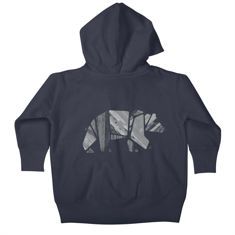 Woody, the Wood Grain Bear (grey) Kids Baby Zip-Up Hoody by CRANK. outdoors + music lifestyle clothing