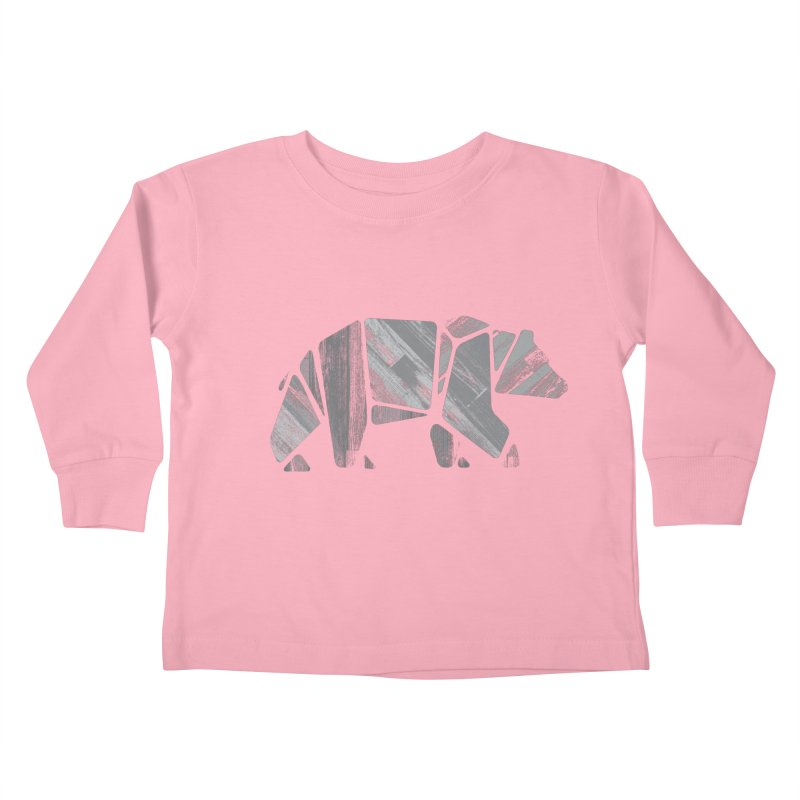 Woody, the Wood Grain Bear (grey) Kids Toddler Longsleeve T-Shirt by CRANK. outdoors + music lifestyle clothing