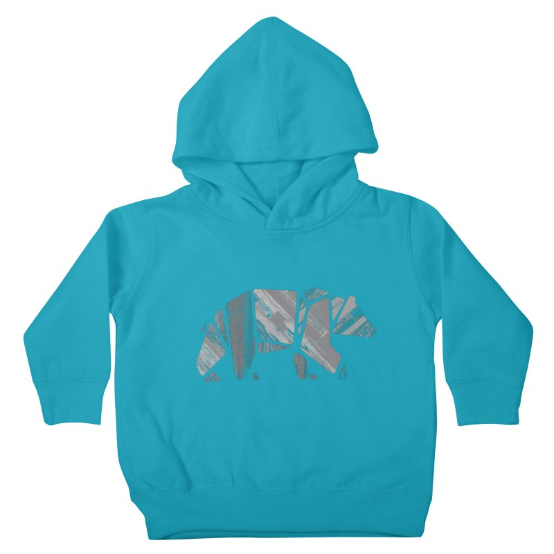 Woody, the Wood Grain Bear (grey) Kids Toddler Pullover Hoody by CRANK. outdoors + music lifestyle clothing