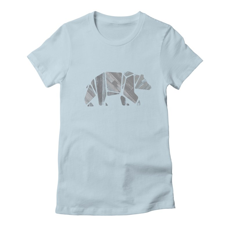 Woody, the Wood Grain Bear (grey) Women's Fitted T-Shirt by CRANK. outdoors + music lifestyle clothing