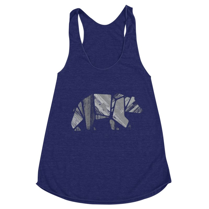 Woody, the Wood Grain Bear (grey) Women's Racerback Triblend Tank by CRANK. outdoors + music lifestyle clothing