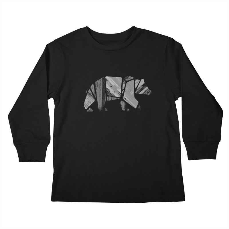 Woody, the Wood Grain Bear (grey) Kids Longsleeve T-Shirt by CRANK. outdoors + music lifestyle clothing