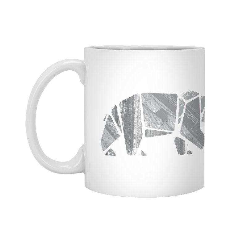 Woody, the Wood Grain Bear (grey) Accessories Mug by CRANK. outdoors + music lifestyle clothing