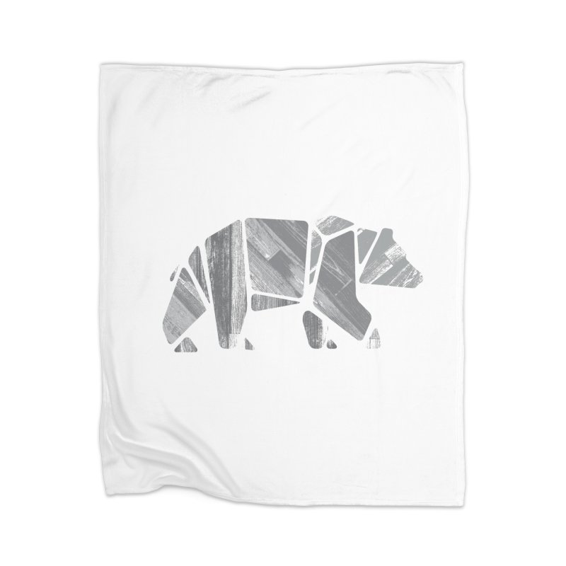 Woody, the Wood Grain Bear (grey) Home Blanket by CRANK. outdoors + music lifestyle clothing