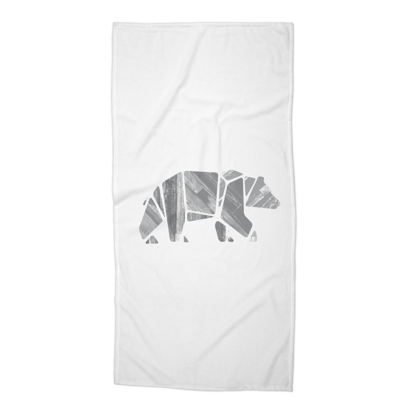Woody, the Wood Grain Bear (grey) Accessories Beach Towel by CRANK. outdoors + music lifestyle clothing