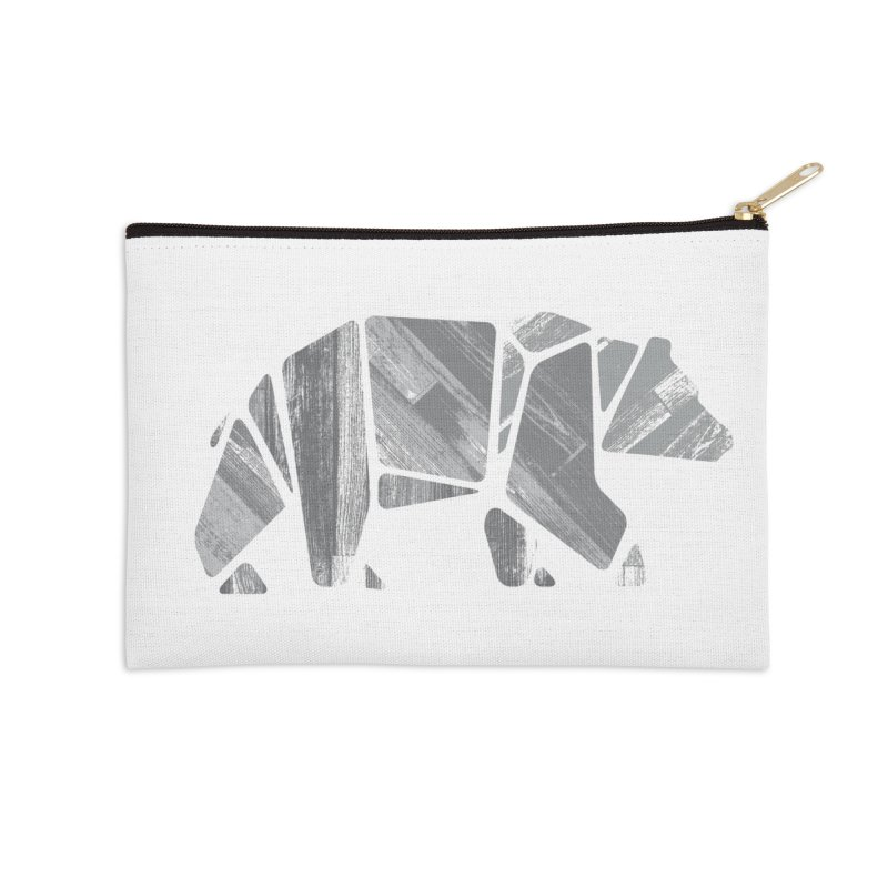 Woody, the Wood Grain Bear (grey) Accessories Zip Pouch by CRANK. outdoors + music lifestyle clothing