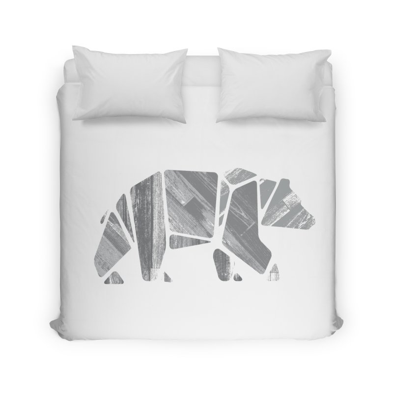 Woody, the Wood Grain Bear (grey) Home Duvet by CRANK. outdoors + music lifestyle clothing
