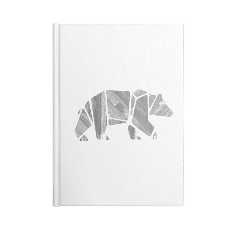 Woody, the Wood Grain Bear (grey) Accessories Lined Journal Notebook by CRANK. outdoors + music lifestyle clothing