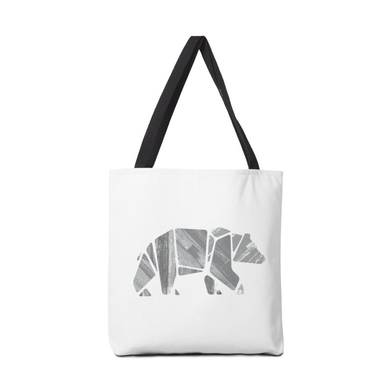 Woody, the Wood Grain Bear (grey) Accessories Tote Bag Bag by CRANK. outdoors + music lifestyle clothing