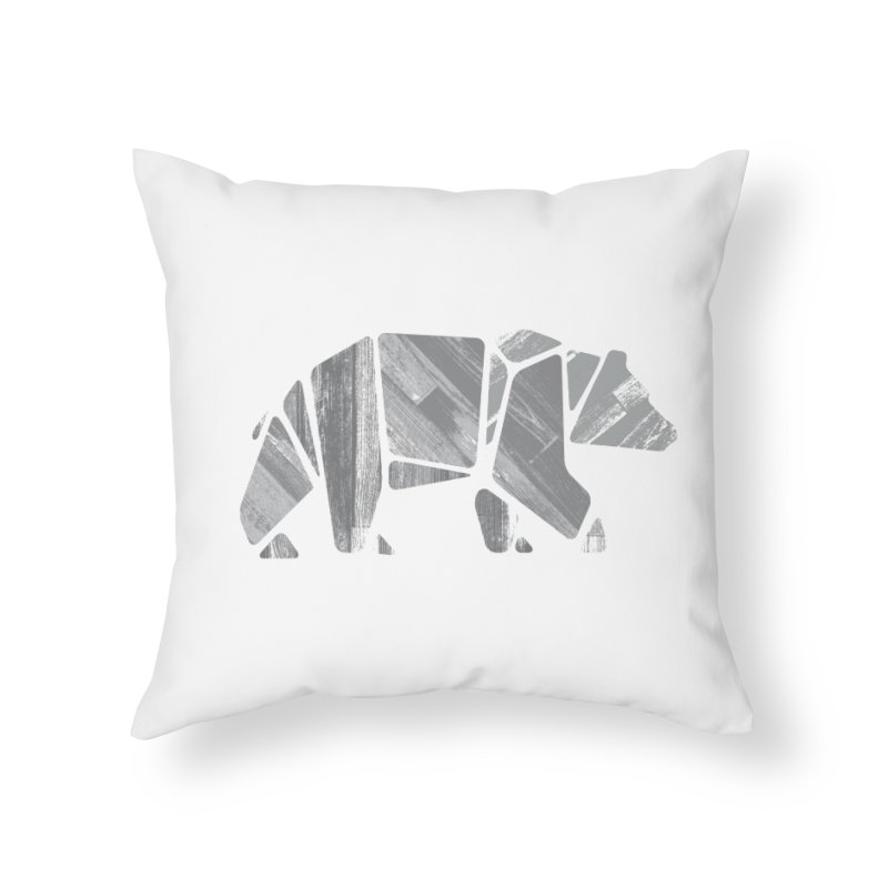 Woody, the Wood Grain Bear (grey) Home Throw Pillow by CRANK. outdoors + music lifestyle clothing