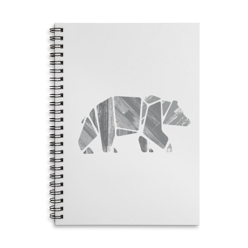Woody, the Wood Grain Bear (grey) Accessories Lined Spiral Notebook by CRANK. outdoors + music lifestyle clothing