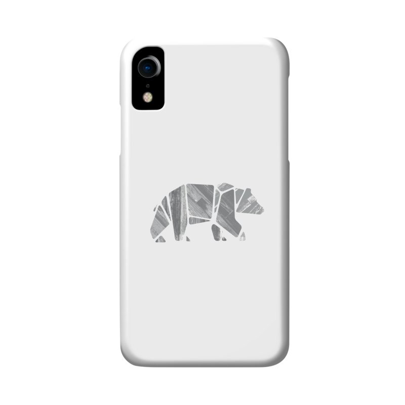 Woody, the Wood Grain Bear (grey) Accessories Phone Case by CRANK. outdoors + music lifestyle clothing