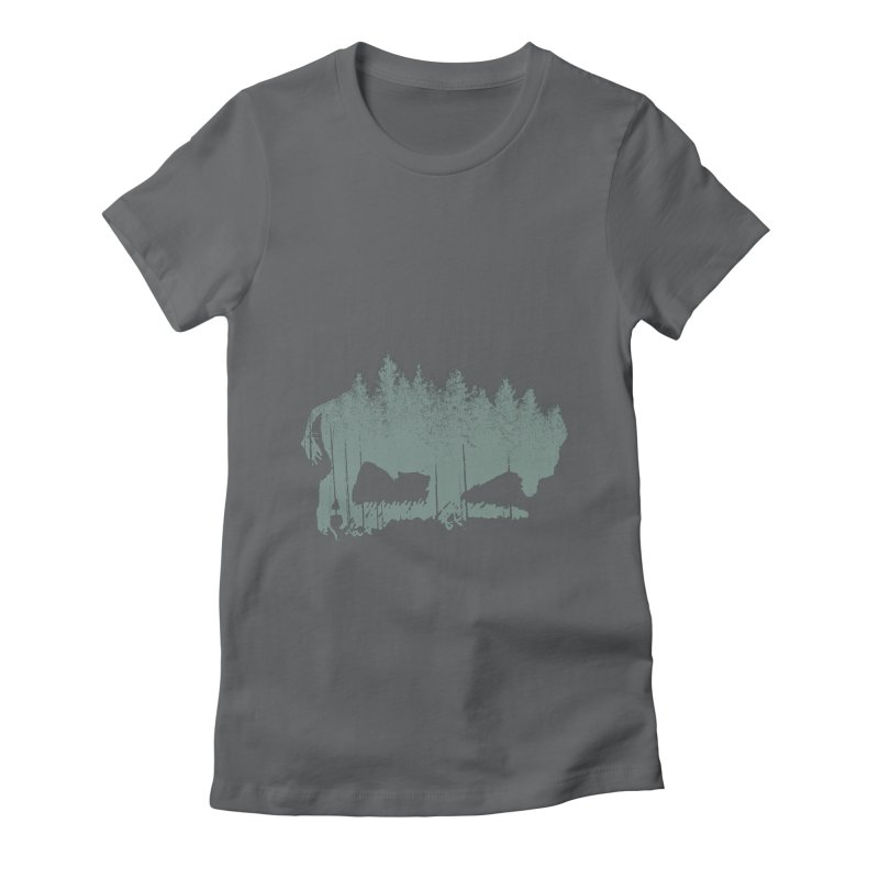 Bison Shag Tree Coat Women's Fitted T-Shirt by CRANK. outdoors + music lifestyle clothing
