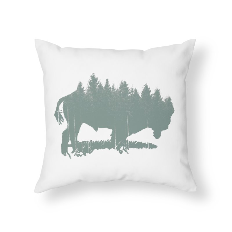 Bison Shag Tree Coat Home Throw Pillow by CRANK. outdoors + music lifestyle clothing