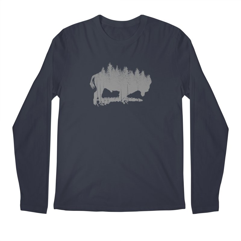 Bison for the Trees in Men's Regular Longsleeve T-Shirt Midnight by CRANK. outdoors + music lifestyle clothing