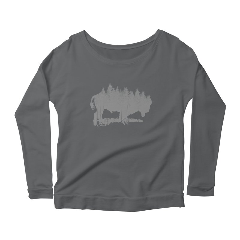 Bison for the Trees Women's Scoop Neck Longsleeve T-Shirt by CRANK. outdoors + music lifestyle clothing