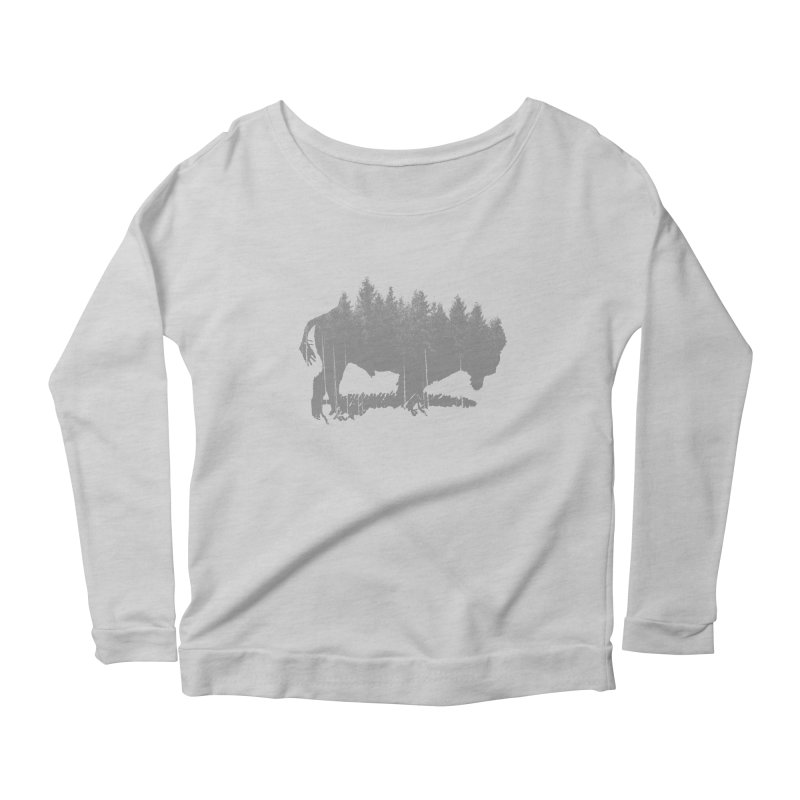 Bison for the Trees Women's Longsleeve Scoopneck  by CRANK. outdoors + music lifestyle clothing